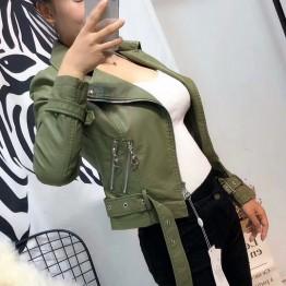 2018 New Arrival Women Soft Faux Leather Jackets Lady Motorcycle PU Biker Coat Black Pink Blue Green Outerwear Casual Streetwear