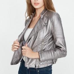 2018 New Fashion Autumn Winter Women Biker Faux Soft Leather Jackets Lady Pu Motorcycle Black Silver Pink Zipper Coat Streetwear