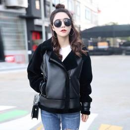 2018 new autumn winter high fashion street women sheep fur jacket with PU leather casual warm zipper femme jacket fur outwear