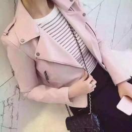 2019 New Fashion Women Casual Motorcycle Faux Soft Leather Jackets Girls Autumn Winter Pink Black Coat Outwear PU Streetwear
