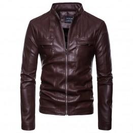 EU/US large size Winter coat Men Tops leather clothing zipper pocket stand neck new Moto & Biker style 2018 Leather jacket S-XXL