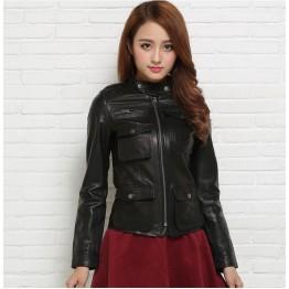Free shipping,100% Genuine leather women slim fur jackets.motorbiker Asian size female sheep skin jacket Brand Suede warm