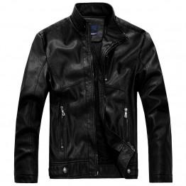 Leather Jacket Men Bomber Jacket Jaqueta De Couro Csaco Mens Stand Collar Leather Jackets Veste Homme Velvet Motorcycle Coat