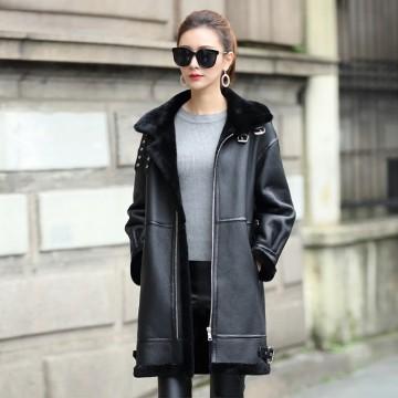 Luxury Real Sheepskin Shearling Coat for Women Genuine Leather Shearling Jacket Merino Sheepskin Motor Coat dx000832842207237