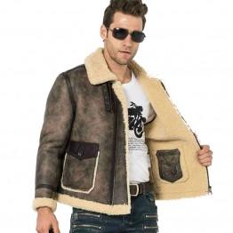 Men Fur Coat Flight Jacket B-3 Bomber Leather Jacket Men's Shearling Jacket Trim Lambskin Aviator Jacket Motorcycle Coat Fur Par