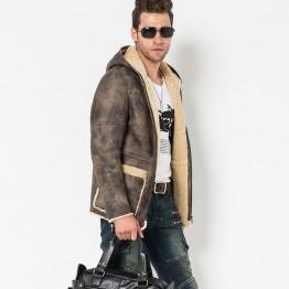 Men's Shearling Coat Hooded Long Fur Jacket Gray  Flight Jacket 100% Genuine Sheepskin Leather Jacket For Men Lambskin Fur Parka
