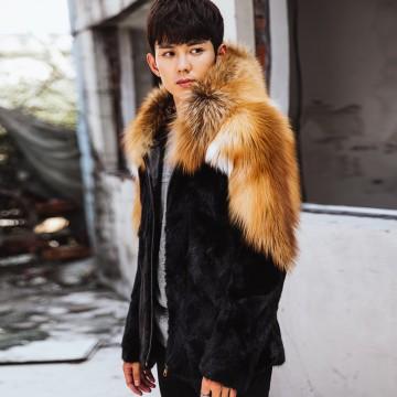 Men's fox fur mink hooded fur coat, men's winter jacket  color stitching provides customized32895826522
