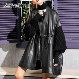 TWOTWINSTYLE Knitting Lantern Sleeve Patchwork PU Leather Jackets Female Drawstring Long Women's Coat Fashion 2018 Autumn Winter