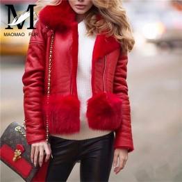 Women Winter Genuine Sheep Leather Jacket Real Fox Fur Collar Coat Fashion Warm Natural Sheepskin Leather Merino Lamb Fur Coat